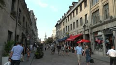 Touristic Urban Old Street - Enjoying the Summer- Montreal, Canada - Full HD Stock Footage