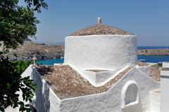The church of Panagia, Lindos, Rhodes, Greece Stock Photos