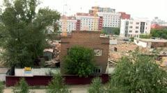 Excavator destroys brick house Stock Footage