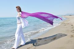 young woman relax  on beach - stock photo