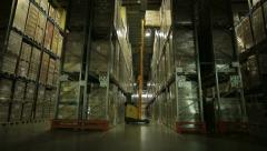 Forklift work in the logistics terminal 4 - stock footage