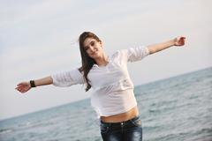 young woman enjoy on beach - stock photo