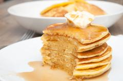 pancakes with butter and maple syrup - stock photo