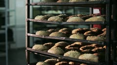 Ready bread products cools after oven Stock Footage