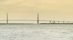 Arthur Ravenel Jr. Bridge in Charleston, South Carolina, USA - stock footage