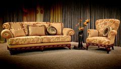 vintage sofa and armchair - stock photo