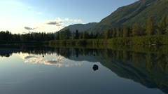 Lake and Reflecting Mountain Placid Scene Stock Footage