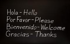 spanish words and their english translations - stock photo