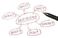 Decisions chart top view Stock Photos