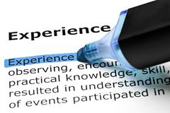 Stock Photo of experience highlighted in blue