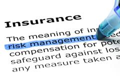 Stock Photo of insurance with blue marker