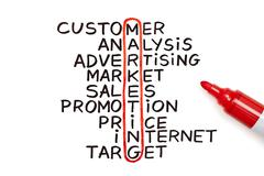 marketing chart with red marker - stock photo