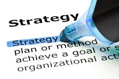 strategy highlighted in blue - stock photo
