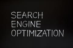 search engine optimization on blackboard - stock photo