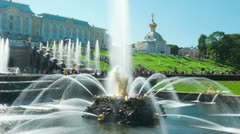 Samson Fountain, St. Petersburg, Russia. Timelapse, zoom in. Stock Footage