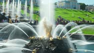 Stock Video Footage of Samson Fountain, St. Petersburg, Russia. Timelapse, zoom out.