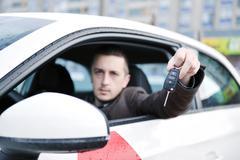 man using car navigation - stock photo