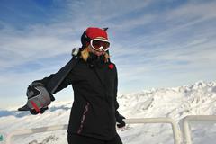 woman winter snow skiskiing on on now at winter season - stock photo