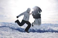 people group on snow at winter season - stock photo