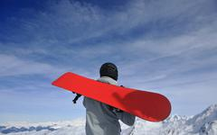 skiing on on now at winter season - stock photo