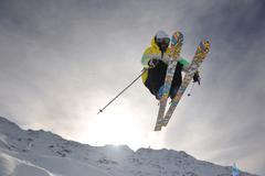 extreme freestyle ski jump - stock photo