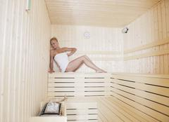 spa and wellness treatment at sauna - stock photo