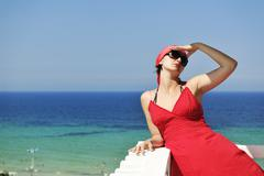 woman travel fashion - stock photo