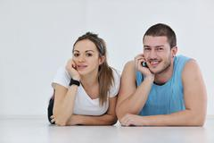 happy young couple fitness workout and fun - stock photo