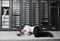 System fail situation in network server room Stock Photos