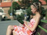 Young woman with tablet computer in the city NTSC Stock Footage