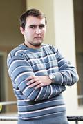 student male portrait at campus - stock photo