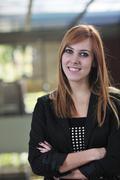 student girl portrait at university campus - stock photo