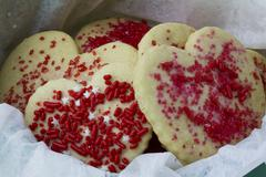 Heart shaped holiday cookies for gift giving - stock photo