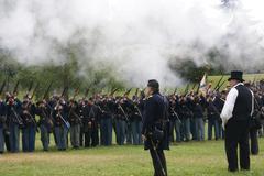 union infantry line firing - stock photo