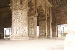 inlaid marble, columns and arches,  hall of private audience - stock photo