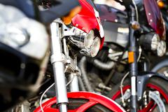 Motorbike's chromed engine. bikes in a street Stock Photos