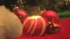red bauble and ball candle - stock footage
