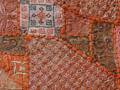 Rajasthani wall hanging made of quilted saris Stock Photos