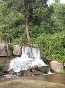 Stock Photo of shiva temple at waterfalls