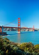 The golden gate bridge in san francisco with beautiful blue ocean in backgrou Stock Photos