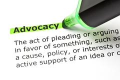 Advocacy highlighted in green Stock Photos