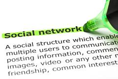 'social network' highlighted in green Stock Photos