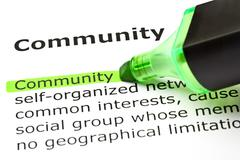 'community' highlighted in green Stock Photos