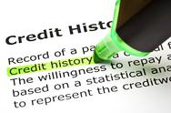"""Stock Photo of """"credit history"""" highlighted in green"""
