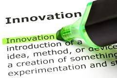'innovation' highlighted in green - stock photo