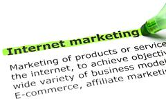 'internet marketing' highlighted in green - stock photo
