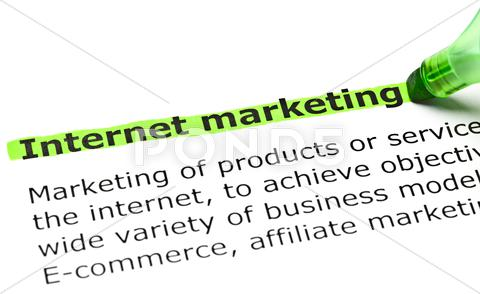 Stock photo of 'internet marketing' highlighted in green
