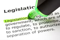 "Stock Photo of the word ""legislation"" highlighted in green"