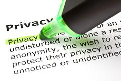 'privacy' highlighted in green - stock photo