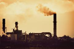 concept of global warming, pollution smoke from factory - stock photo